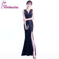 Robe De Soiree Mermaid Evening Dresses Long Sequins 2018 Prom Party Dresses Backless Abiye Black Evening