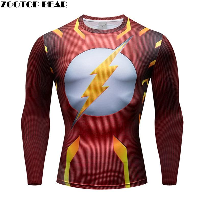 2019 Men Crossfit Long Sleeve Compression T-Shirt 3D Anime Superhero Superman Captain America T Shirt Tights Fitness Tops & Tees