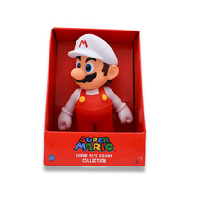 лучшая цена 23 cm Anime Figura Super Mario Bros Mario White Hat PVC Action Figure Doll Collectible Model Baby Toy Christmas Gift For Kids