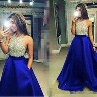 Королевский синий вечерние платья вечерние длинные линии пикантные Блестящие бисера Формальные вечерние платья платье на продажу Вечерни
