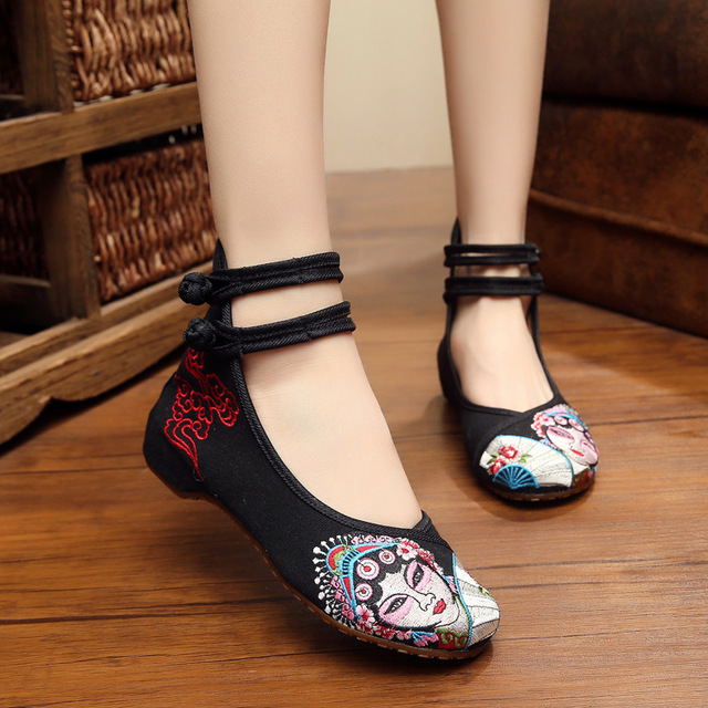 Peking Opera artistes Chinese embroidery shoes embroidered old Beijing Oxford slope with soft-soled dance walking shoes 35-41