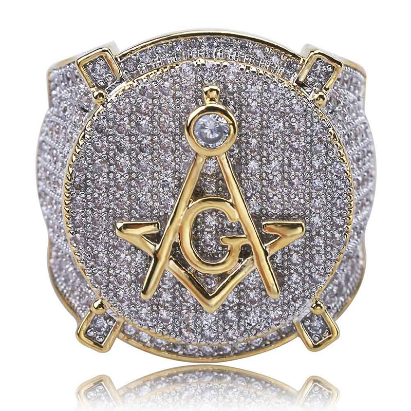 HOT Hip Hop 18k Gold Masonic Ring Men 39 S Personalized AG Full Cubic Zirconia Ring Europe Wholesale Brand Luxury Men Jewelry in Rings from Jewelry amp Accessories