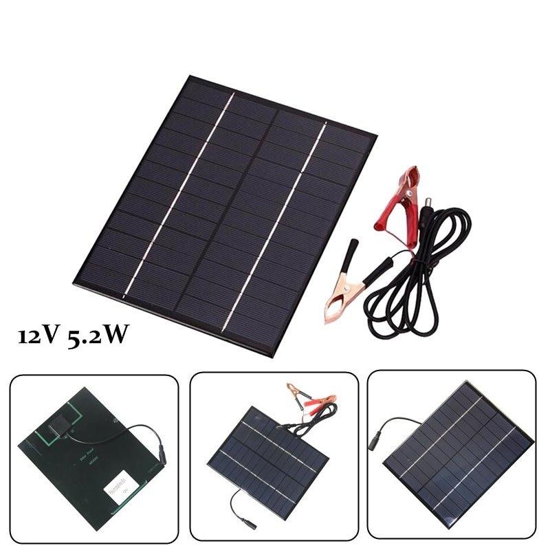 Zerosky 12V 5.2W Mini Solar Panel Polycrystalline Solar Cells Silicon Epoxy Solar DIY Module System Battery Charger + DC output
