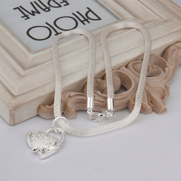 silver color gorgeous charm fashion charm heart wedding lady love necklace noble luxury 18 inches Silver jewelry , N270 8