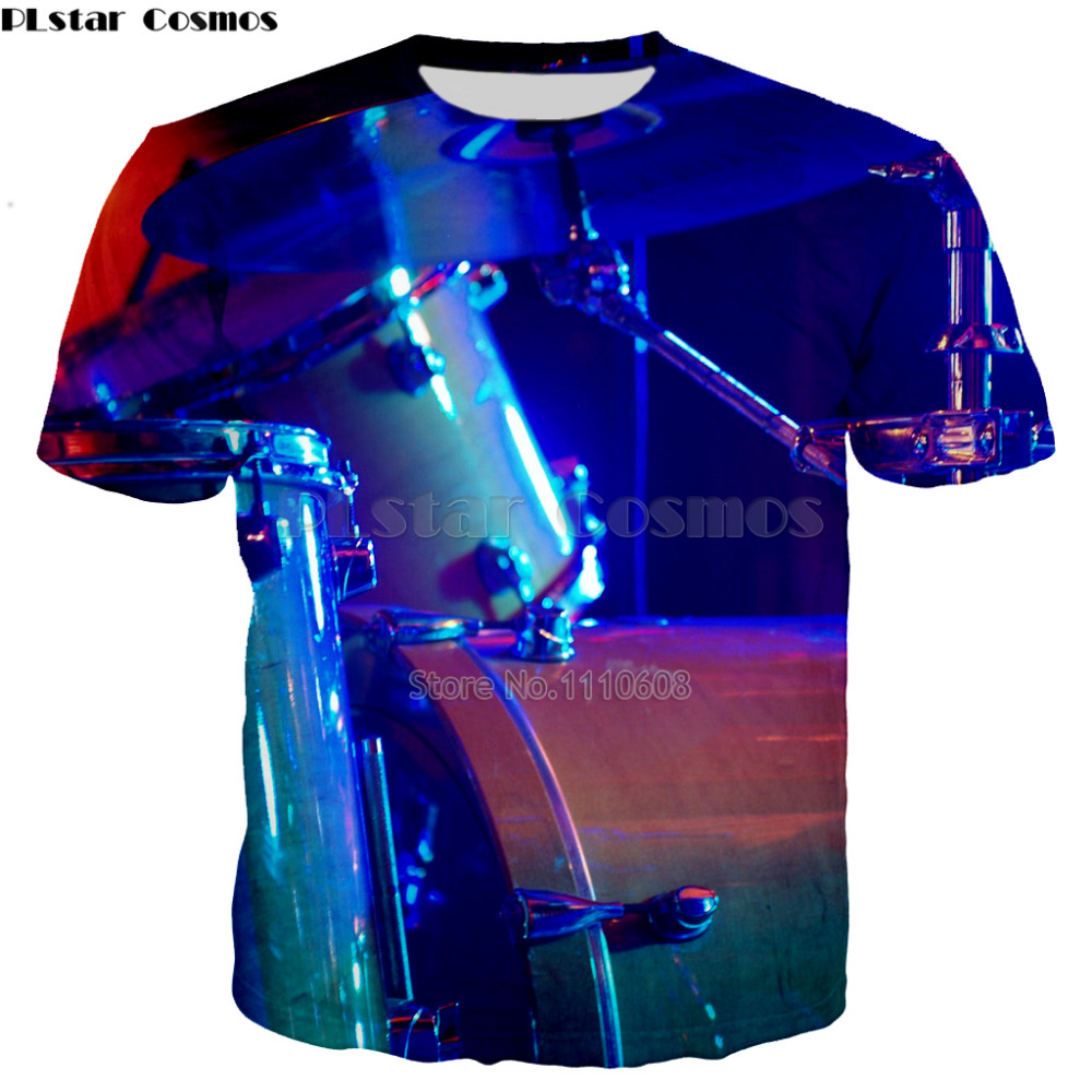 PLstar Cosmos Factory Sale drum DJ Disco Music T Shirt Light Up And Down Flashing Equalizer EL T-Shirt Men Rock Party DJ T Shirt