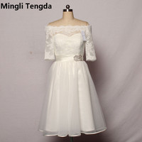 Mingli тенгда цвета слоновой кости кружевное короткое платье подружки невесты Свадебная вечеринка платье, с вырезом лодочкой женское платье п