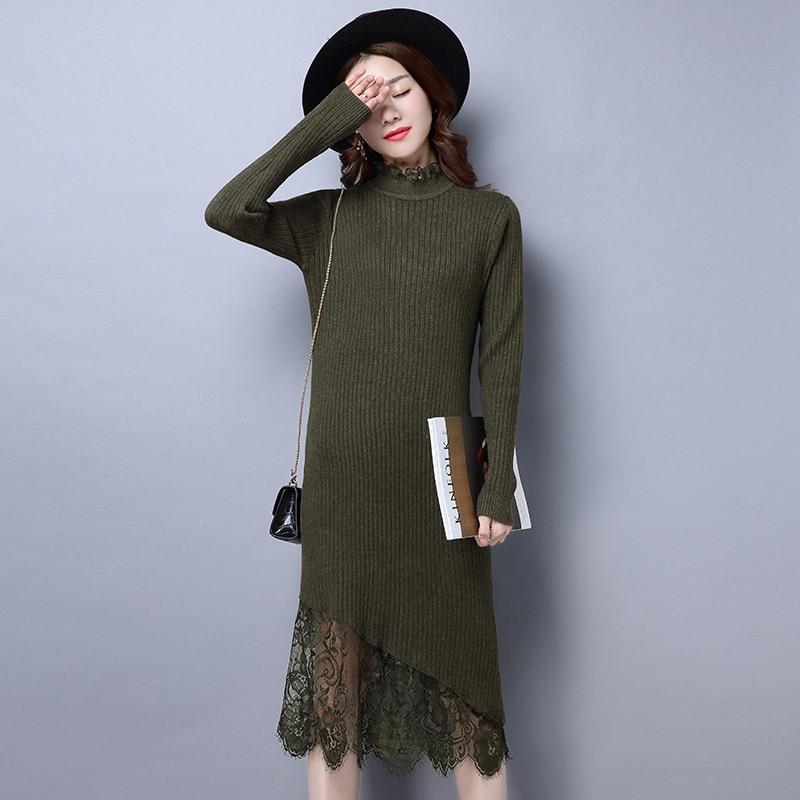 Corea del cordón de costura de cuello alto suéter camisa mitad femenina de la ma