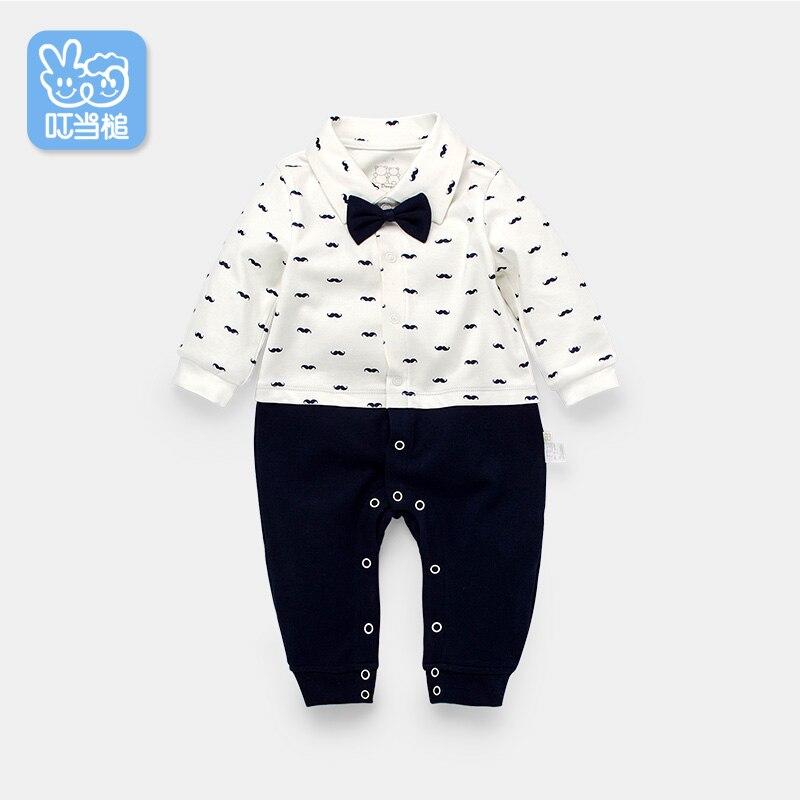 Dinstry recién nacido mamelucos ropa primavera guapo bowtie trajes - Ropa de bebé