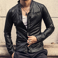 2016 spring and Autumn New men's brand stand collar slim leather clothing fashion design male short leather jacket / S-XXL