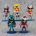 Nuevo 5 unids/set Saint Seiya Q versión 10 cm PVC Figuras de Acción Juguetes Colección Modelo Muñeca Regalo de Navidad Para Niño