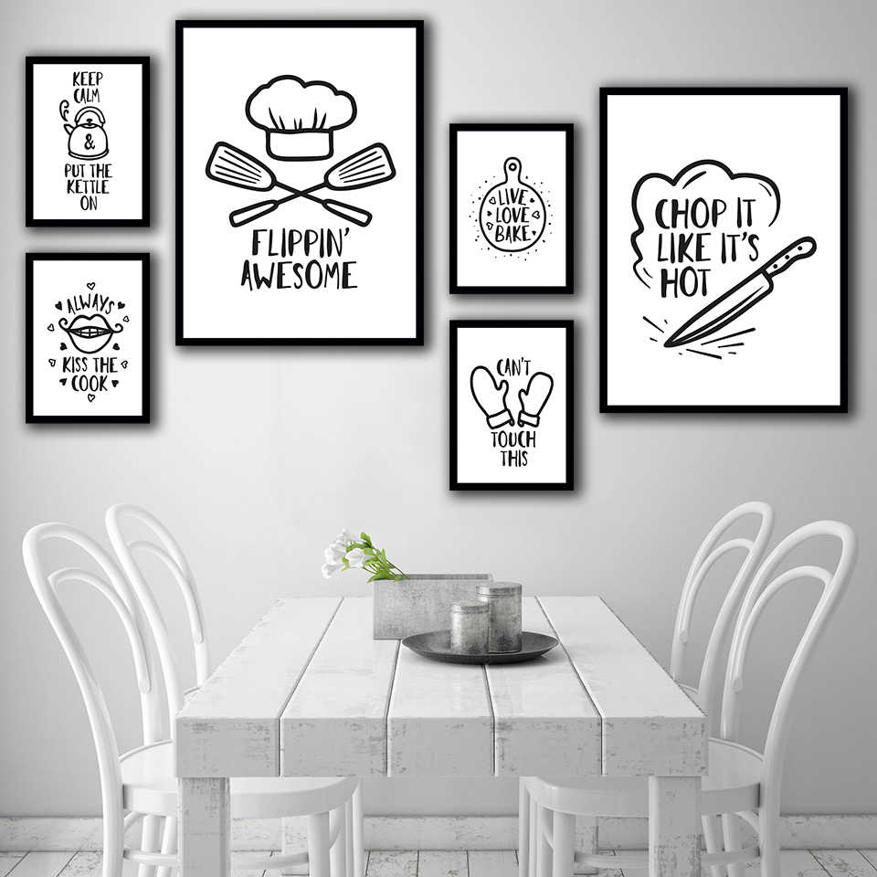 Home Decor Canvas Painting Black And White Simple Abstract Kitchen Tools Pictures Wall Art Prints Modular Poster For Restaurant Painting Calligraphy Aliexpress