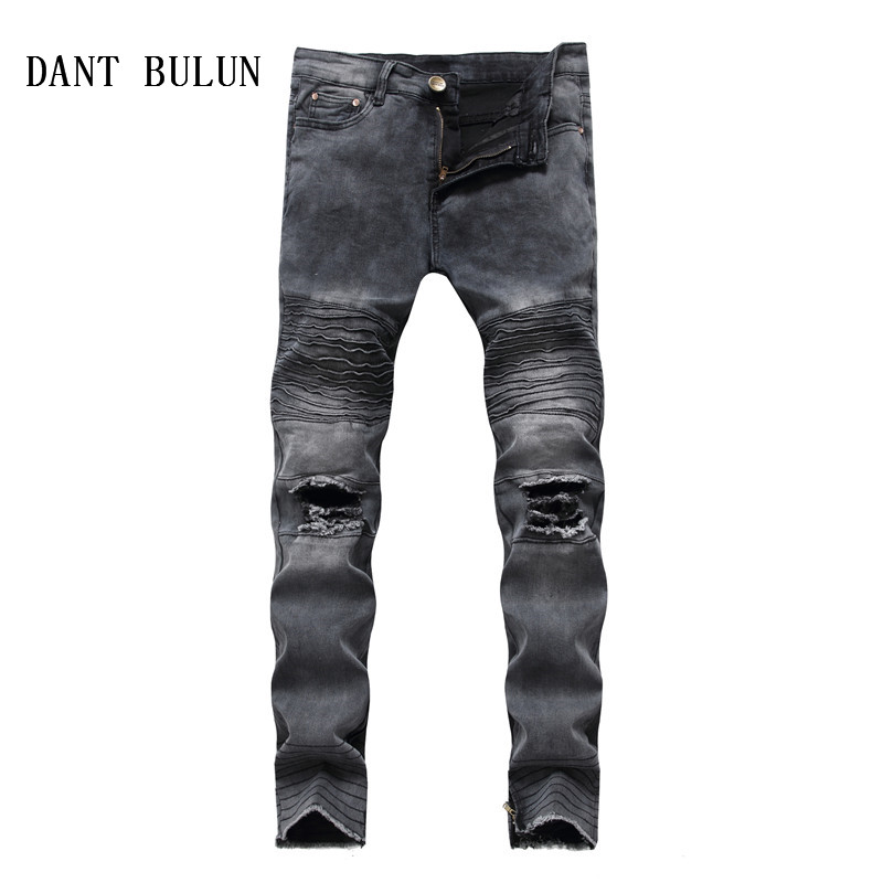 DANT BULUN Men Jeans Runway Slim Racer Ripped Biker Jeans Fashion Hip Hop Casual Skinny Zipper Hole Jeans for Men,PY8855