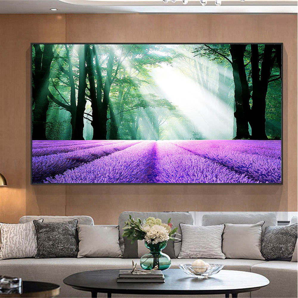 Lavender Forest Landscape Canvas Print Wall Picture For
