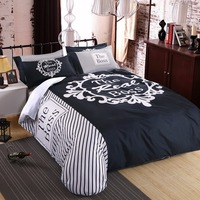 Ms.O Digital Print Duvet Cover Set Full Queen Size Bed Sheet Bedding Set Sexy Herside Hisside Black White Bedroom Bed Linen
