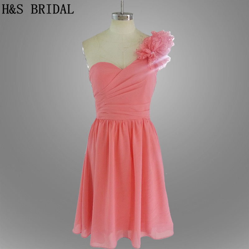Real Model One shoulder Flowers Simple Short   Bridesmaid     Dress