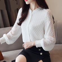 2018 Nova chegou mulheres camisa doce ponto onda longa-manga gola V feminino  bronzeado mulheres blusa estilo Coreano OL blusa 09. 62763fc474924