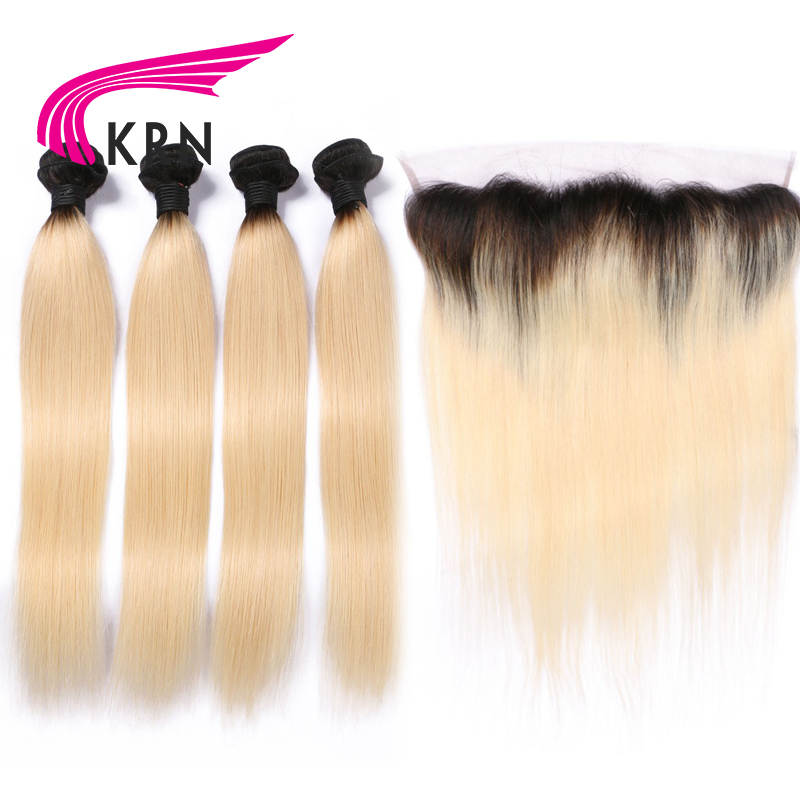 KRN 1B 613 Remy Hair Wefts 4 Bundles With 13*4 Ear To Ear Lace Frontal Closure Hair Brazilian Human Hair Extensions Full End ...
