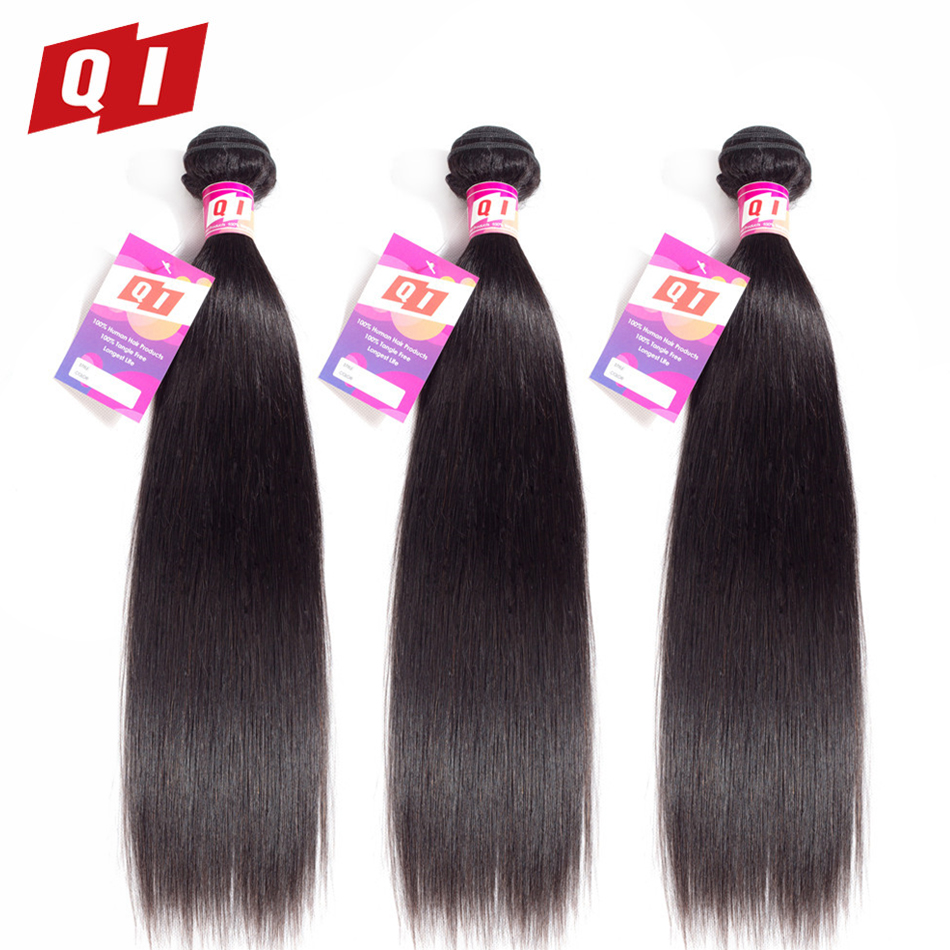 QI Hair Peruvian Straight Hair Weave 3 Bundles 100% Human Hair Bundles Non Remy Hair No Smell Extensions