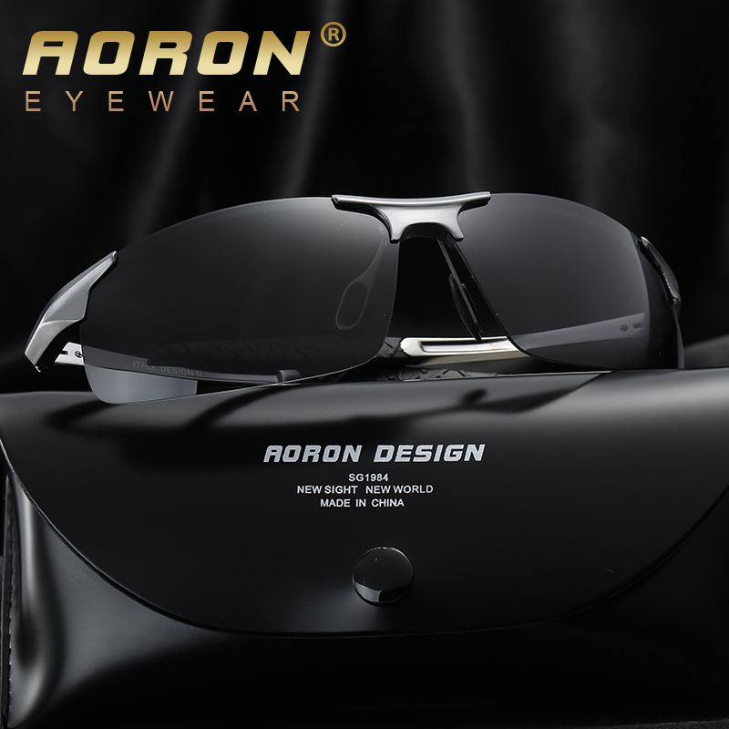 499123b409 AORON Aluminum Magnesium Men s Sunglasses Polarized Coating Mirror Sun  Glasses oculos Male Eyewear Accessories For Men 8177-in Sunglasses from  Apparel ...