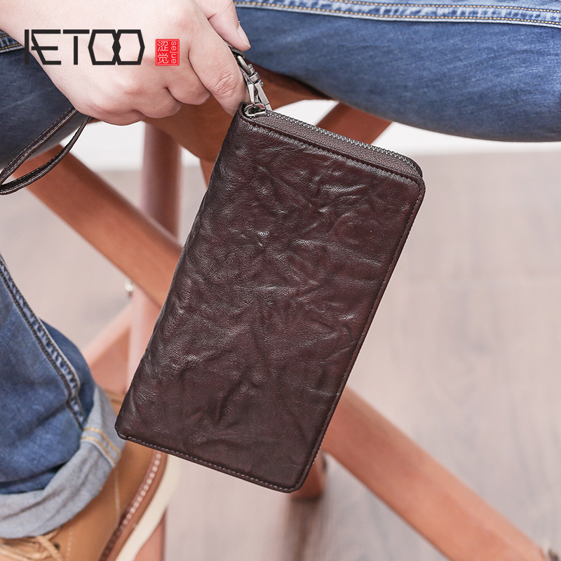 AETOO  Mens wallet leather long zipper wallet Trend head layer cowhide youth casual walletAETOO  Mens wallet leather long zipper wallet Trend head layer cowhide youth casual wallet