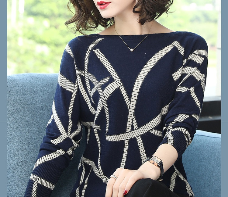 2018 new Autumn Loose Sweater Geometric Print Color Block O Neck Pullover Women Knitwear Sweaters Long Sleeve Knitted sweaters