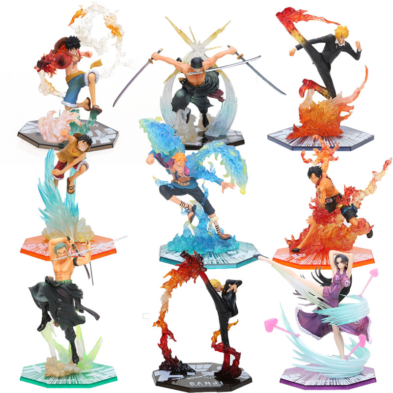 17CM – 20cm Anime One Piece Roronoa Zoro Luffy Ace Boa Sanji Action Figure Colossum