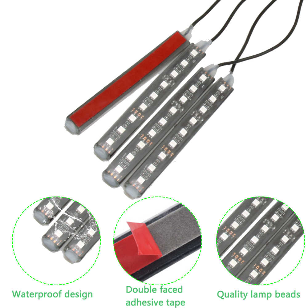 Car LED RGB  Music Atmosphere Sound Active Function LED Strip Remote/Voice/App Control Foot Lamps  Automobile Atmosphere Lamp