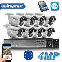 8CH POE NVR комплект 48 V Мощность CCTV Камера Системы Onvif P2P 4MP HD H.265 IP Камера POE Открытый безопасности видеонаблюдения Системы