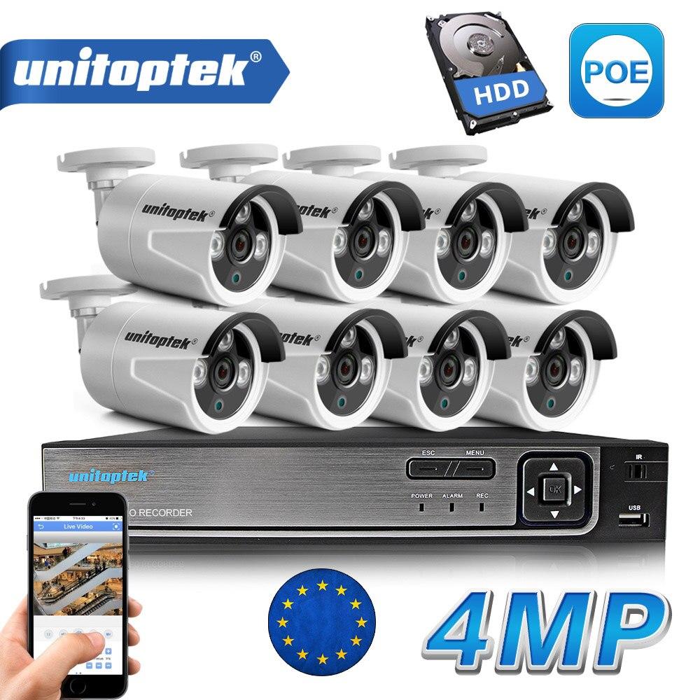8CH POE NVR Kit 48 V Puissance CCTV Caméra Système Onvif P2P 4MP HD H.265 IP Caméra POE Sécurité Extérieure vidéo Surveillance Système