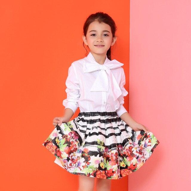 Candydoll Юбки Девушки Дети Весной и Осенью Хлопок Бальное платье 2016 Новый Красочный Цветочный Печати Юбки Детская Одежда