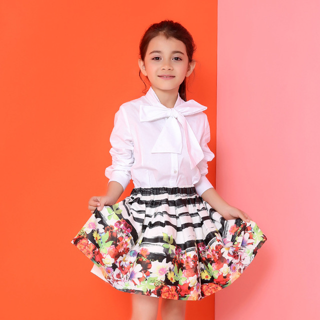 Candydoll Girl Skirt Children Spring and Autumn Cotton Ball Gown 2016 New Colorful Floral Printing Skirts Kids Clothing