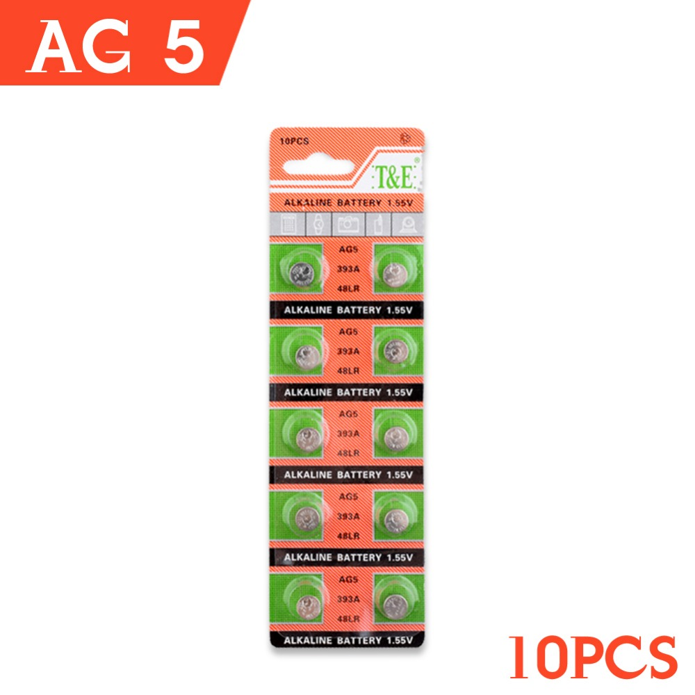 Ycdc 10pcs/pack Ag5 Watch Battery Lr754 G5a 193 48 393 393a Mini Button Coin Cell Silver Oxide Sgs Standard Lock Battery Consumer Electronics