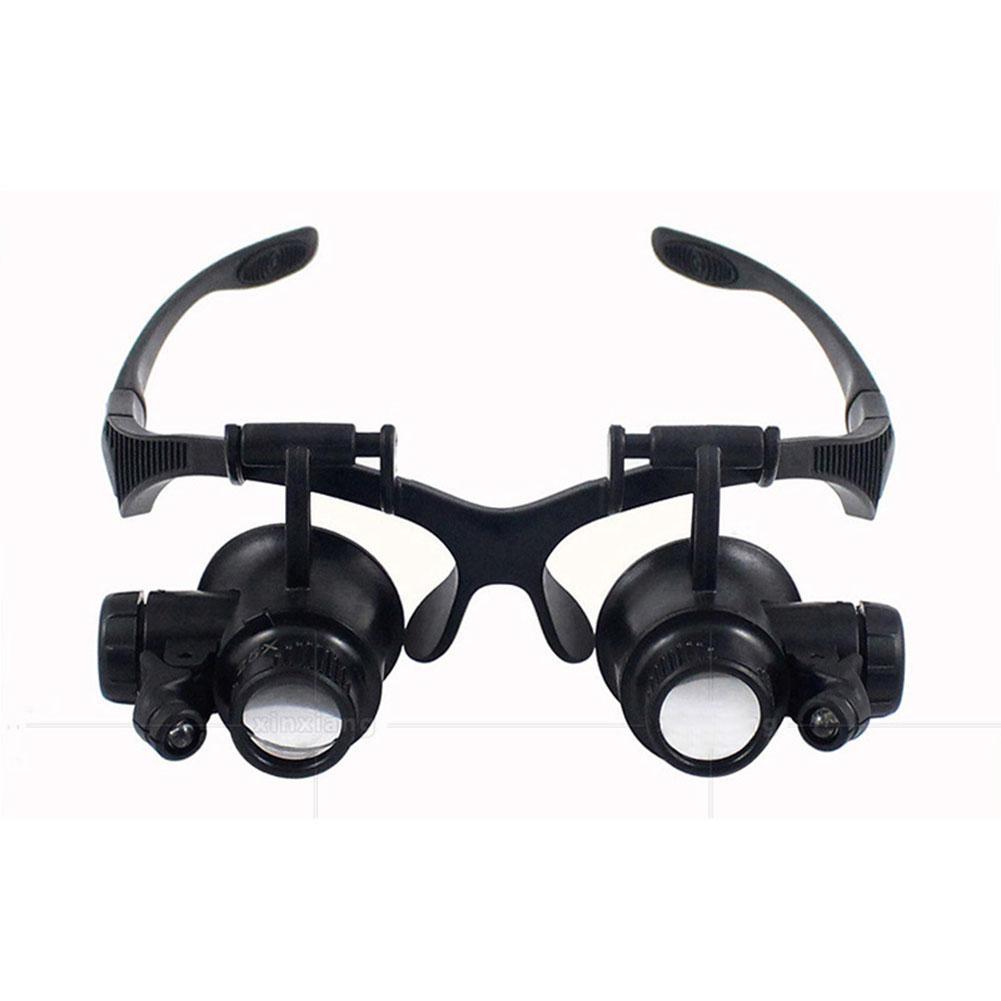 LanLan Headband 10X 15X 20X 25X LED Luz Óculos Lupa Relojoeiro Jóias Lupa Lupa Lupa Lente de Vidro Óptico