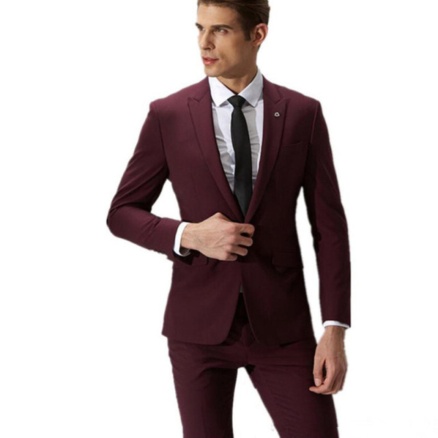 Fashion Men Suits Wine Red Groom Suit S Formal 2017 A On Slim Male Wedding