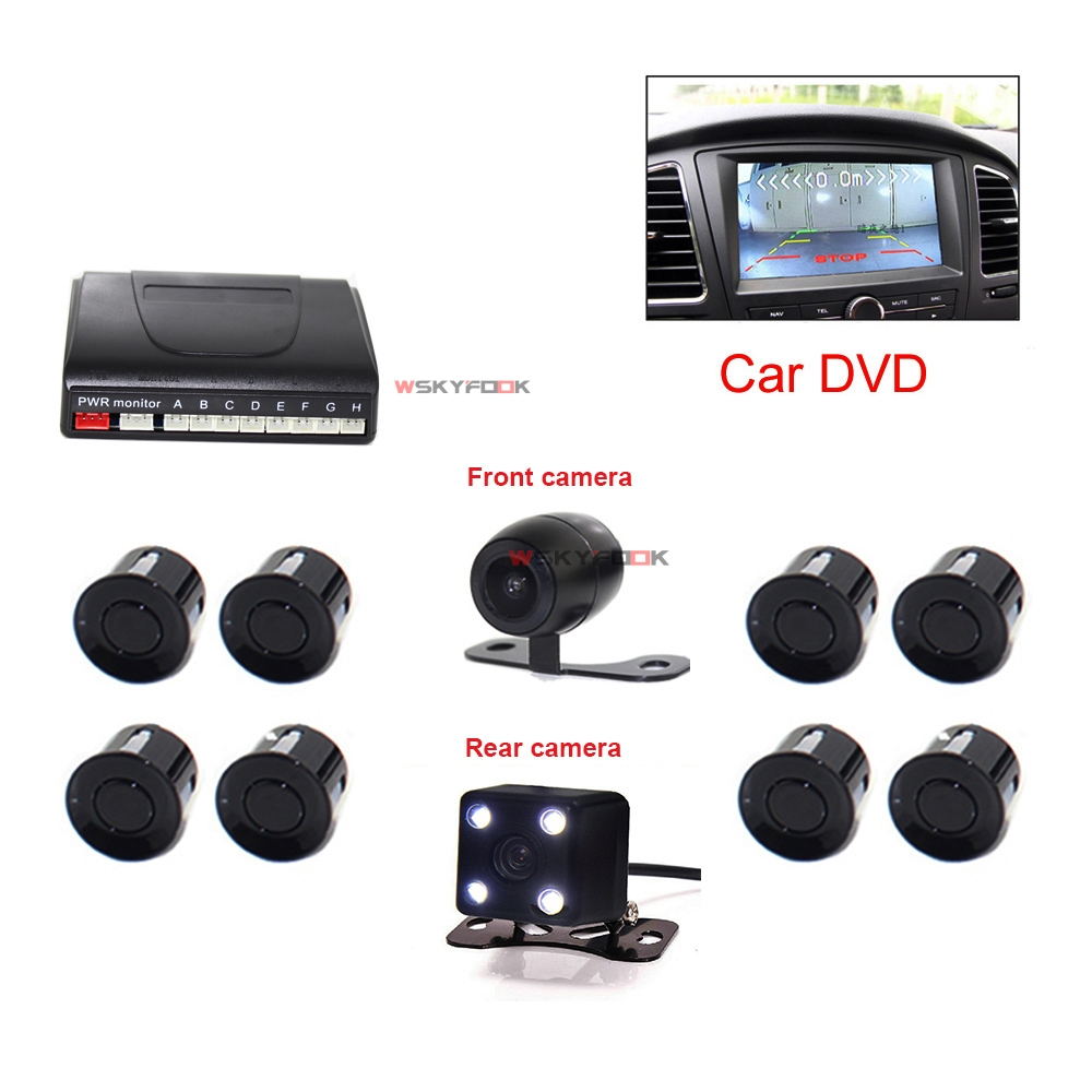 2 in 1 Car Video Parking Sensor Reverse Backup Radar Assist With 2 Cam Front/Rear View Reversing Camera цены
