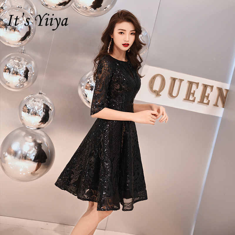 It's YiiYa O-neck Cocktail Dress Little Black Bling Sequins Half Sleeve Short Formal Dresses Elegant WomenParty Ball Gowns E011