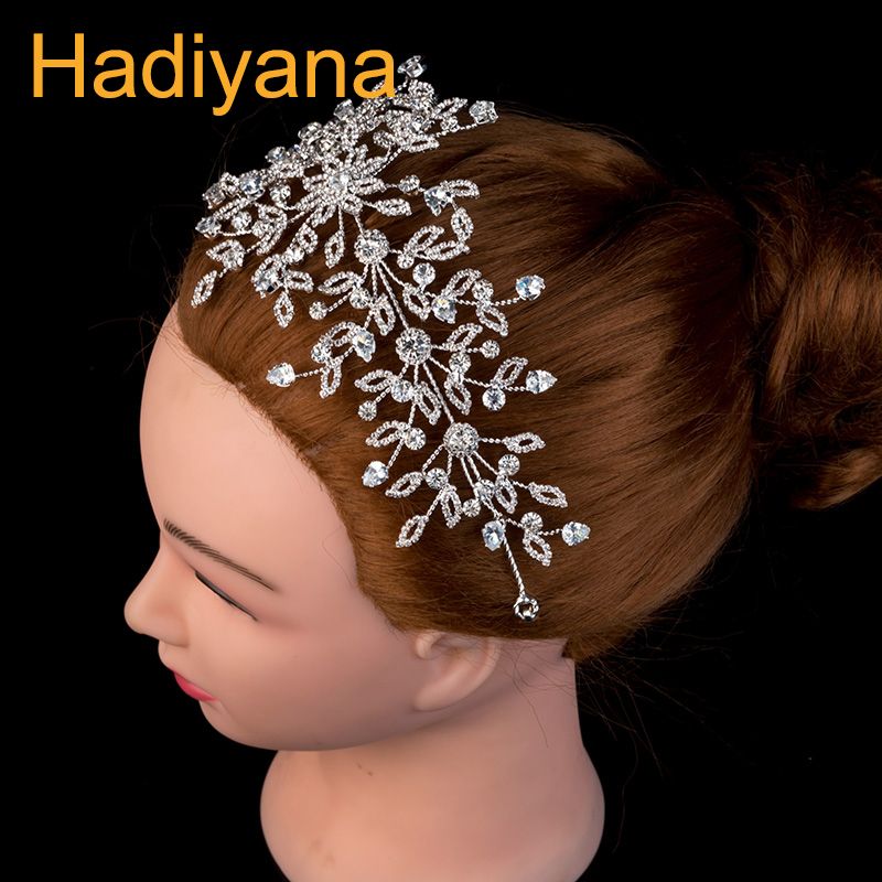 Hadiyana Luxury Wedding Bridal Tiara Crown Princess Queen Pageant Prom Rhinestone Tiara Headband Wedding Hair Accessories