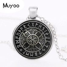 2017 Fashion Nordic Viking Cross in Rune Circle Pendant Jewelry Crystal Necklaces Cabochon Glass Dome Handmade Jewelry HZ1(China)