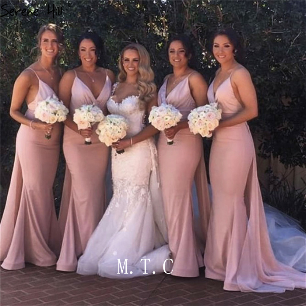 New 2019 Pink Mermaid Elastic Satin Long   Bridesmaid     Dresses   Sweetheart Spaghetti Strap Sexy Wedding Party Gowns Cheap