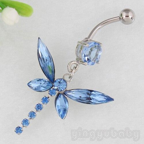 56d90227f Varejo de Moda jóias Zircão Libélula umbigo anel piercing no umbigo 14G aço  cirúrgico 316L body piercing frete grátis