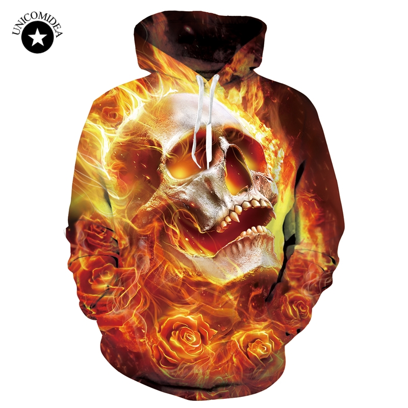 2018 3D Hoodies Men Hoody Sweatshirts Burning Skull Rose 3D Print Fashion Casual Pullovers Streetwear Tops Spring Hot Hipster