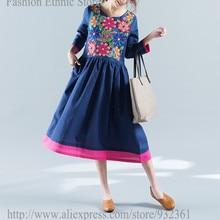 97b88dcf3d6 Vintage mexican ethnic floral embroidery Long dresses bohemian festival  women dress vestido mexicanoc 2019 robe pull
