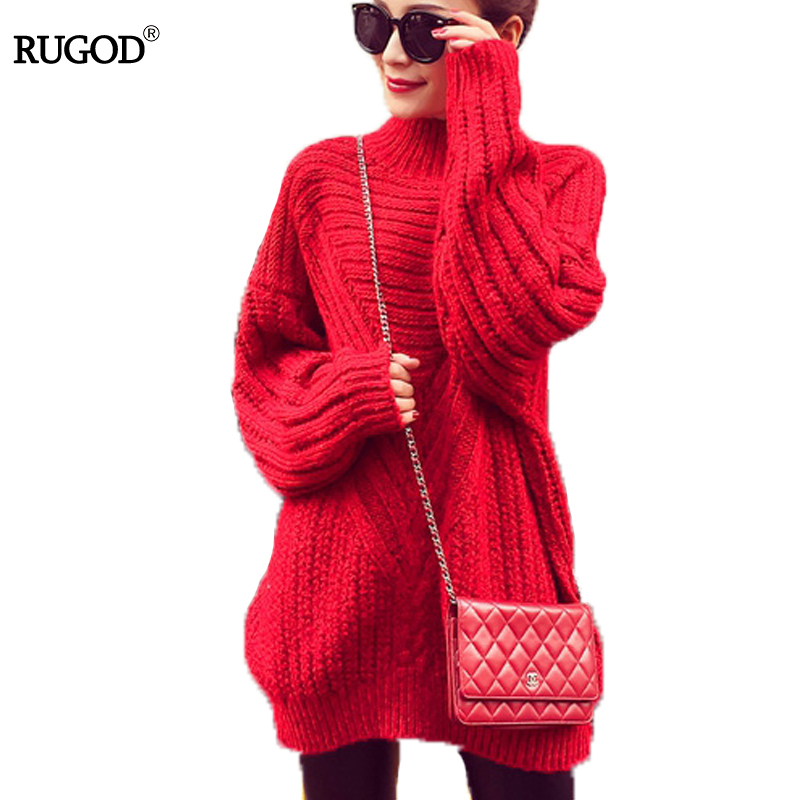 RUGOD Chic Turtleneck Long Pullover Hollow Out Elegant Sweater Dress Winter Tops For Women Candy Color Korean Style Fashion 2019
