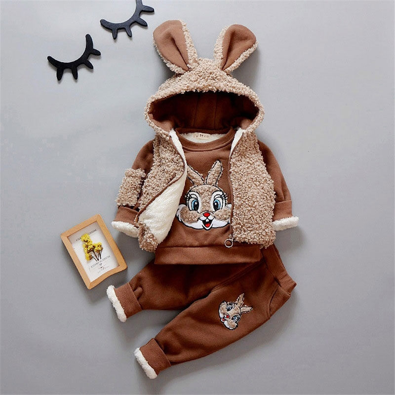 2017 Cartoon Rabbit Fleece Clothing Sets for Newborn Baby Overalls for Autumn Winter Children's Boy Girl Clothes Suit 3pcs 0-3T cotton baby rompers set newborn clothes baby clothing boys girls cartoon jumpsuits long sleeve overalls coveralls autumn winter
