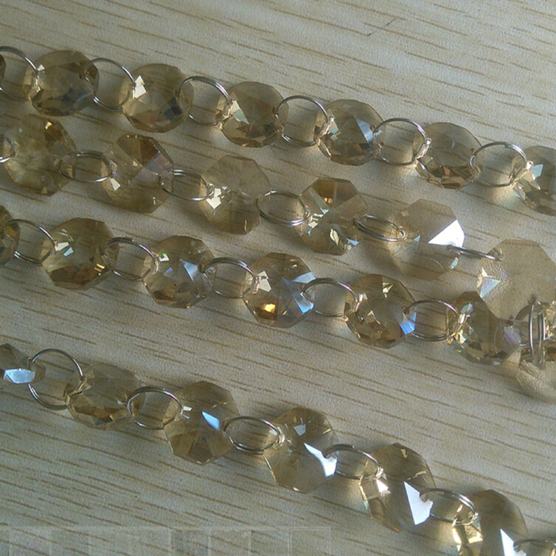 Cognac Color 50m/Lot 14mm Crystal Octagon Bead Chains Glass Garland Strand Wedding Christmas Various Party Decoration