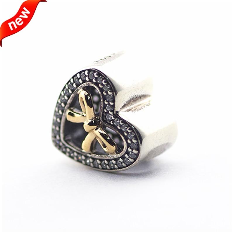 Charms Fit Original Pandora Bracelet Bead DIY Jewelry Gold Bound by Love Charm, Clear CZ 925 Sterling Silver Jewelry FL377K