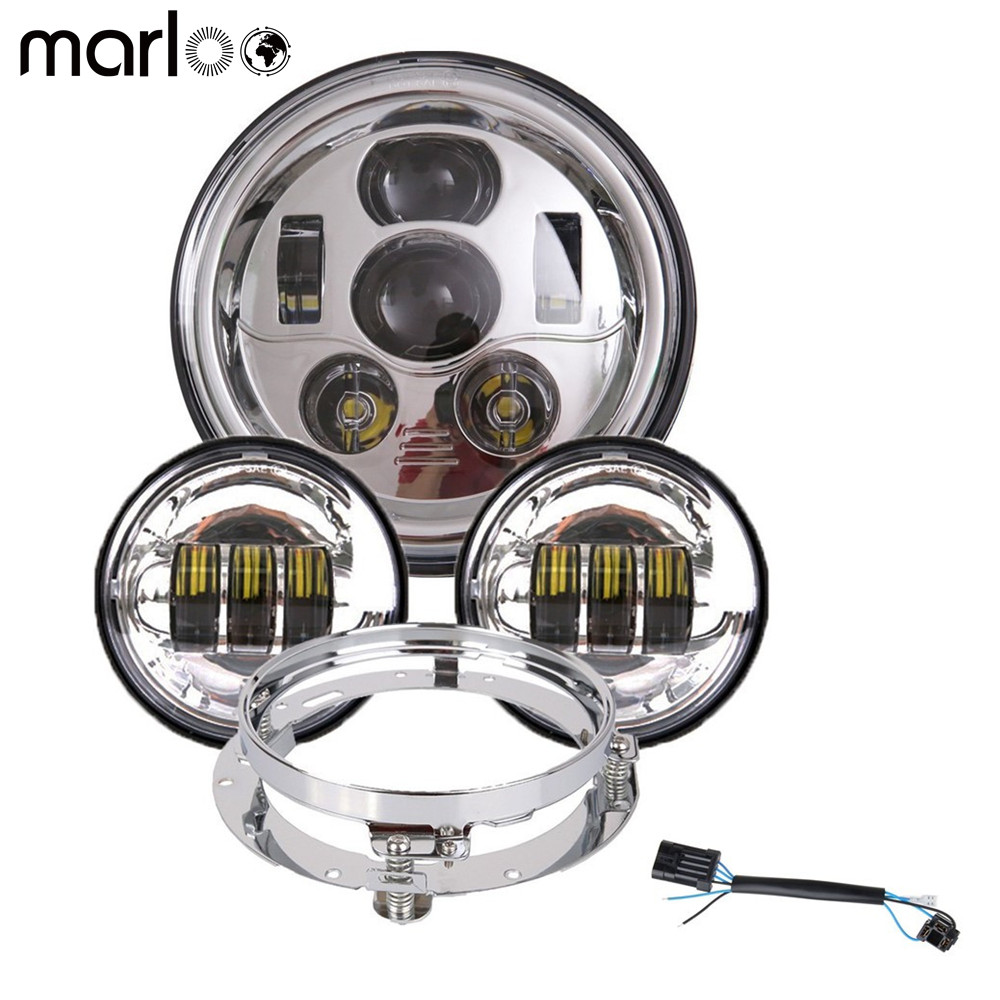 Marloo DOT Set 7 inch Daymaker LED Headlight Fog Passing Lights With Mount Bracket Harley Touring Road King Motorcycle Headlight black 7 inch motorcycle daymaker replacement led headlight 2 x 4 5 fog lights for harley davidson road king with 7 bracket