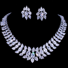 Emmaya Luxury Crystal Wedding Bridal Jewelry Sets Silver Color Rhinestone Wedding Jewelry Necklace Sets for Women