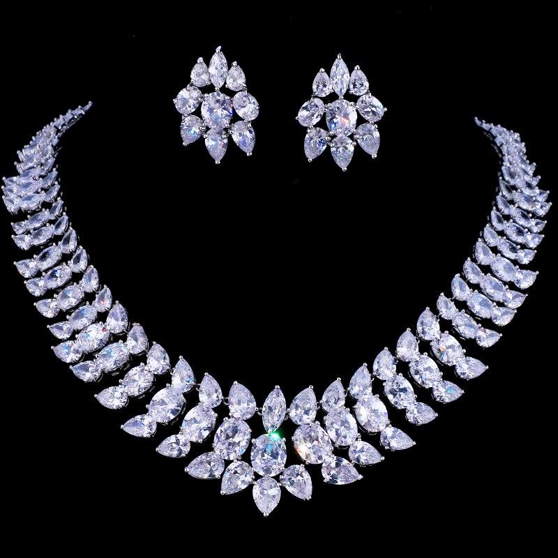 Emmaya luxe cristal mariage bijoux de mariée ensembles argent couleur strass mariage bijoux collier ensembles pour les femmes