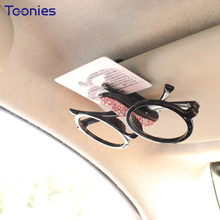 Фотография Beauty Fashion Diamond Car Glasses Clips Sunglasses Holder Sun Visor Decor Frame Car Styling Card Clip Interior Accessories Toys